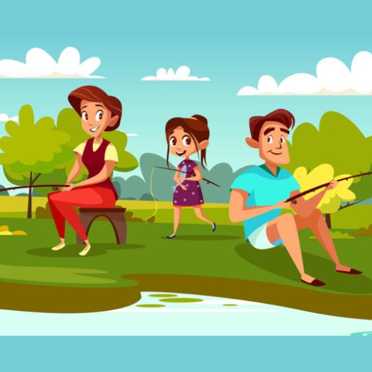Familie fisketur